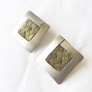 Artisan handmade silver and woven brass earrings
